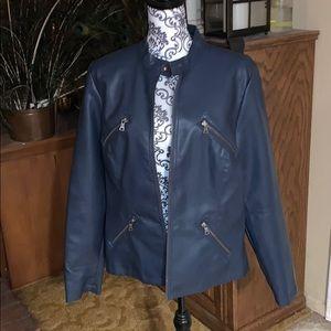 NWOT Susan Graver Navy moto jacket